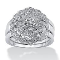 Platinum/Silver 1/7 TCW Round Diamond 3-Piece Bridal Wedding Ring Set