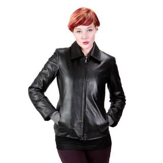 United Face Women's Leather Scuba Jacket