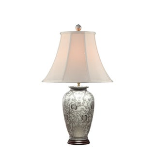 WHITE & SILVER SCROLLS PATTERN ROUND TABLE LAMP