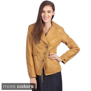 Ramonti Women's Short Leather Belted Safari Blazer Trench