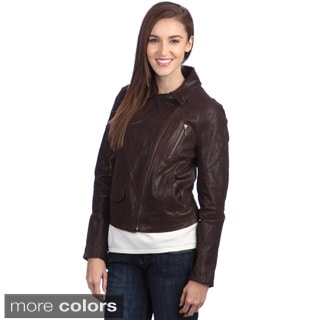 United Face Women&39s New Classic Leather Trucker Jacket - Free