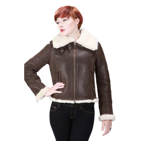 Ramonti Women's Leather Faux Sherpa Aviator Bomber Jacket