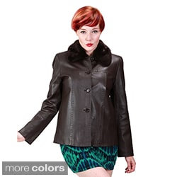 Ramonti Women's Leather Faux Fur Collar Jacket