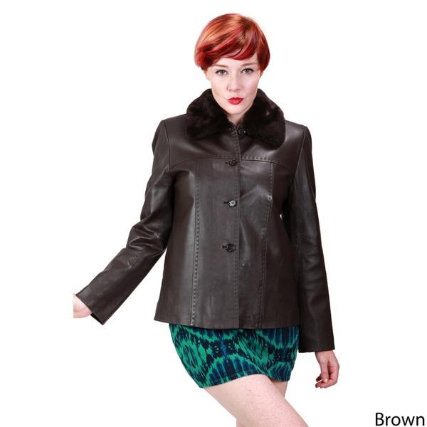 Ramonti Women's Leather Faux Fur Collar Jacket