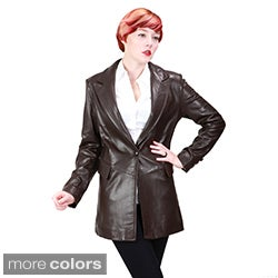 Ramonti Women's Lambskin Leather One-button Blazer