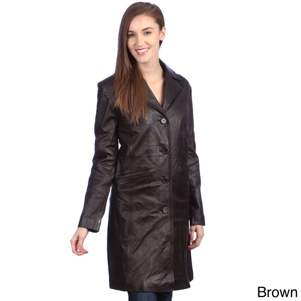 United Face Women&39s Leather Walking Trench Coat - Free Shipping