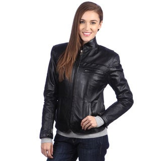 United Face Women's Fitted Leather Motorcycle Jacket - Free ...