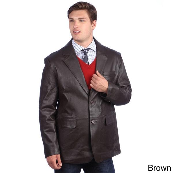 Ramonti Men's Classic Genuine Leather Two-button Blazer