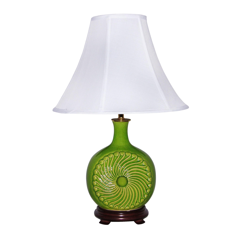 Crown Lighting Apple Green Spiral Ceramic Table Lamp (Brass)