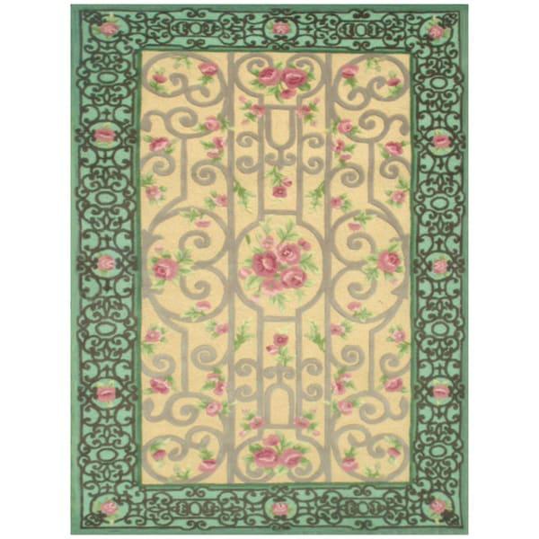Eden Garden Green Hand-made Wool Rug (5' x 8')