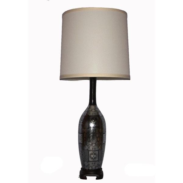 Silver-and-black Parisian Ceramic 150-watt Table Lamp
