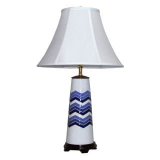 Crown Lighting 1-light Blue and White Chevron Flamestitch Ceramic Table Lamp
