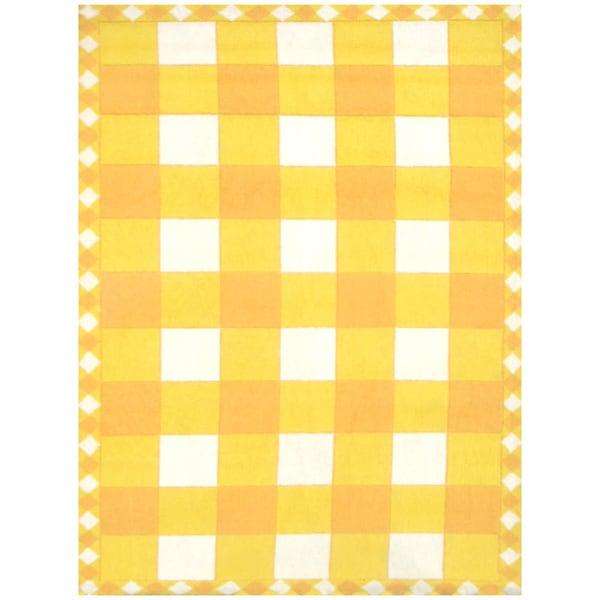 Checker Yellow Hand-made Wool Rug (5' x 8')