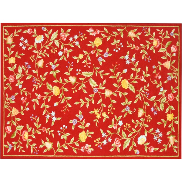 Cynthia Red Hand-made Wool Rug (5' x 8')