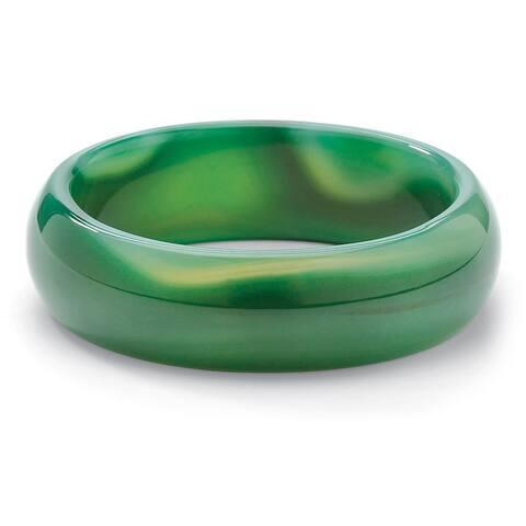 "Genuine Green or Brown Chalcedony Bangle Bracelet 8 1/2"" Naturalist"