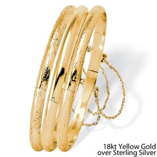 Polished Engraved Three-Piece Bangle Set in Sterling Silver or 18k Gold over Sterling Silv