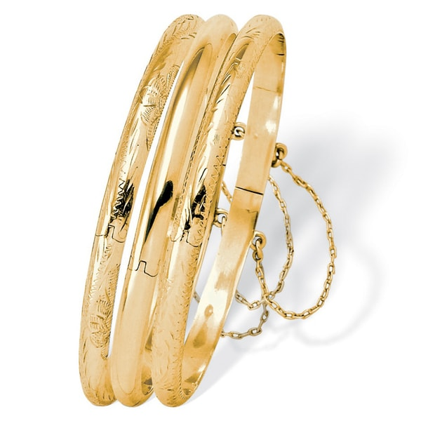 Polished Engraved Three-Piece Bangle Set in Sterling Silver or 18k Gold over Sterling Silv. Opens flyout.