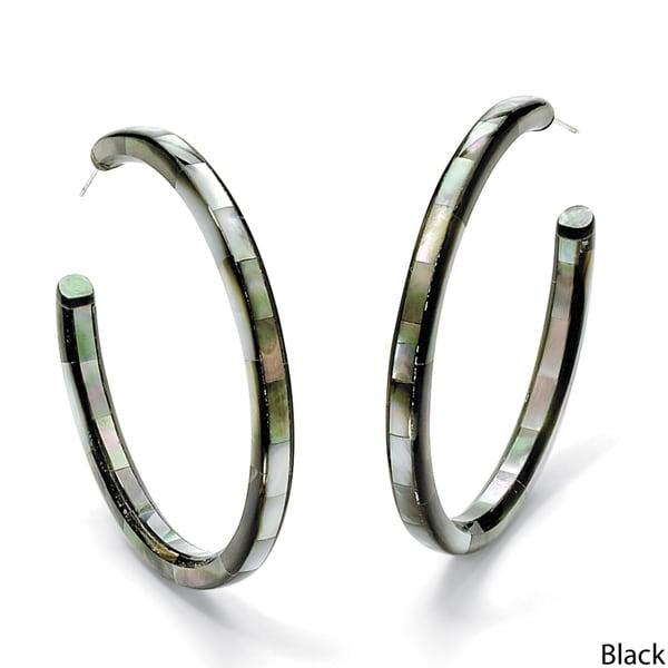 PalmBeach Mother of Pearl Hoop Pierced Earrings Naturalist