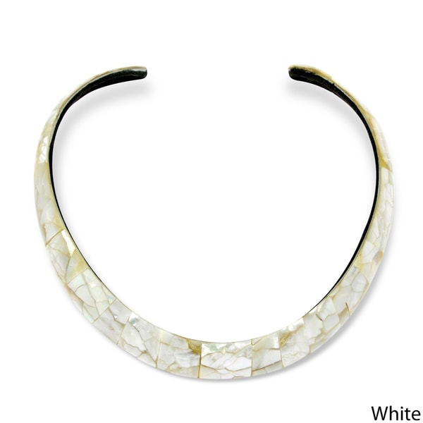 Angelina D'Andrea Mother of Pearl Tiled Choker Necklace