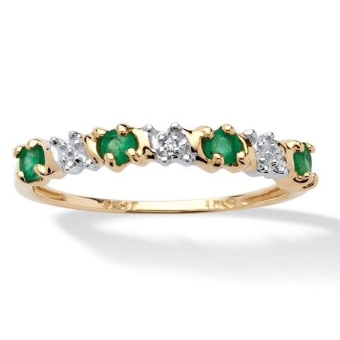 10K Yellow Gold Genuine Green Emerald and Diamond Accent Ring