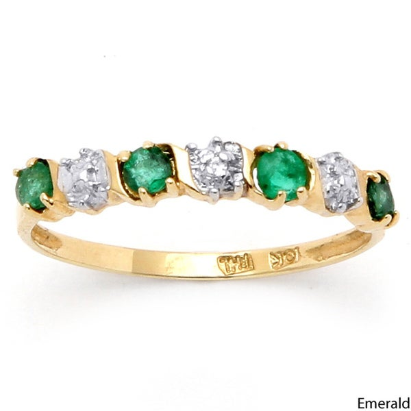 .40 TCW Round Blue Genuine Emerald or Sapphire Diamond Accent 10k Gold Band Ring