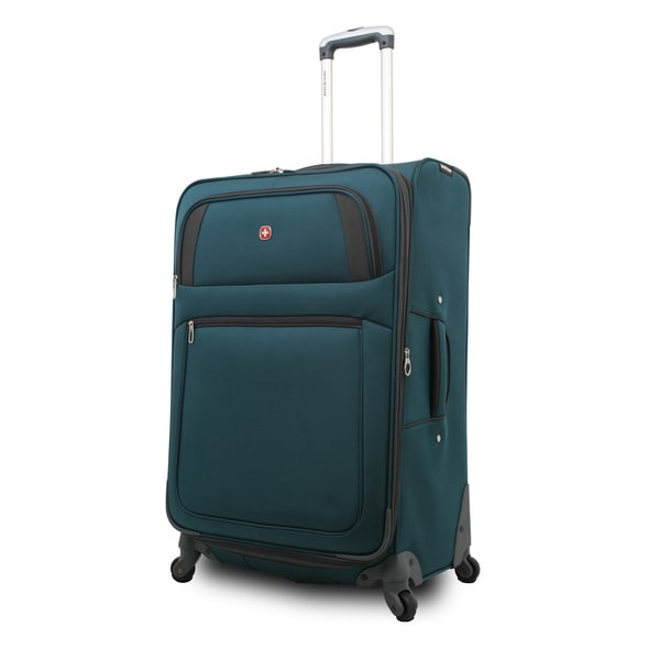 SwissGear SA7296 Teal 20-inch Expandable Carry-on Spinner Upright Suitcase