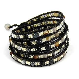 Handmade Tribal Fashion Faceted Mix Stones Five Wrap Bracelet (Thailand)