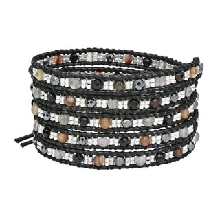 Handmade Tribal Fashion Faceted Mix Stones Five Wrap Bracelet (Thailand)