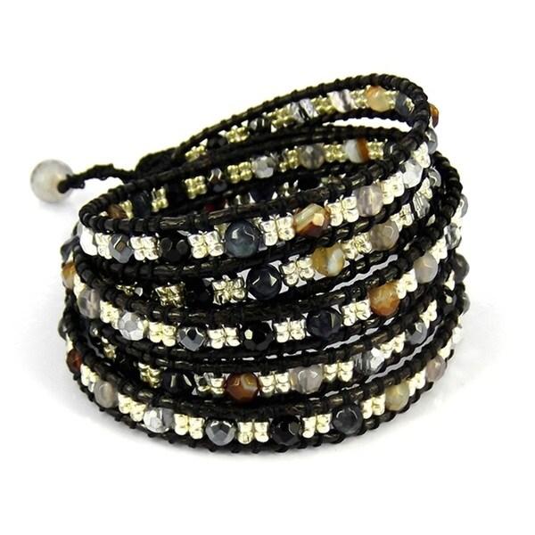 Tribal Fashion Faceted Mix Stones Five Wrap Bracelet (Thailand)
