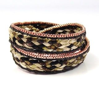 Braided Beauty Double Wrap Silk Bracelet (Thailand)