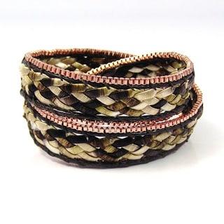 Handmade Braided Beauty Double Wrap Silk Bracelet (Thailand)