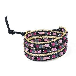 Handmade Assorted Berries Golden Brasss Link Triple Wrap Bracelet (Thailand)