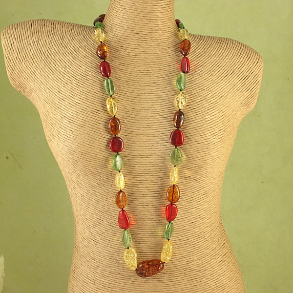 Hand-tied Multicolor Baltic Amber Ovals Cord Necklace (Lithuania)