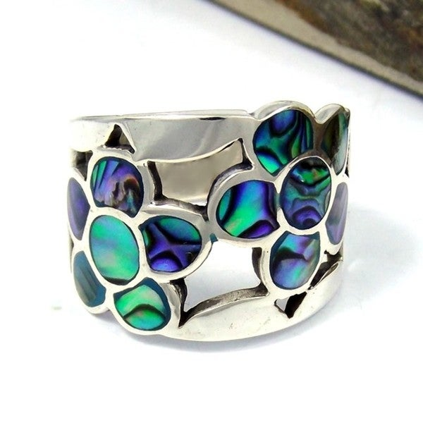 Handmade Dazzling Flower Mosaic Abalone Sterling Silver Ring (Thailand)