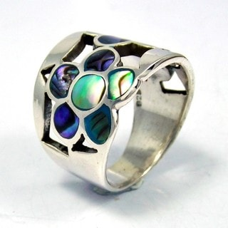 Dazzling Flower Mosaic Abalone Sterling Silver Ring (Thailand)