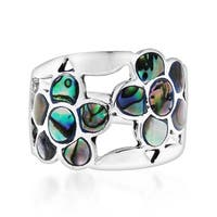 Handmade Dazzling Flower Mosaic Abalone Sterling Silver Ring (Thailand) - Green