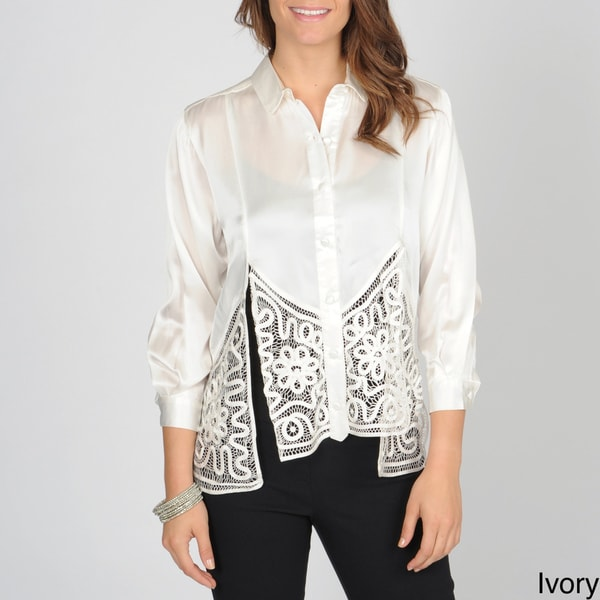 SoulMates Women's Button Down Silk Top with Hand Crafted Detail