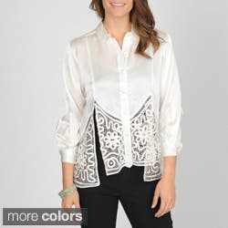 SoulMates Women's Button Down Silk Top with Hand Crafted Detail|https://ak1.ostkcdn.com/images/products/7378411/SoulMates-Womens-Button-Down-Silk-Top-with-Hand-Crafted-Detail-P14838209.jpg?impolicy=medium