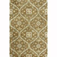 Hand-tufted Mocha/ Brown Floral Trellis Wool Area Rug - 5' x 7'6