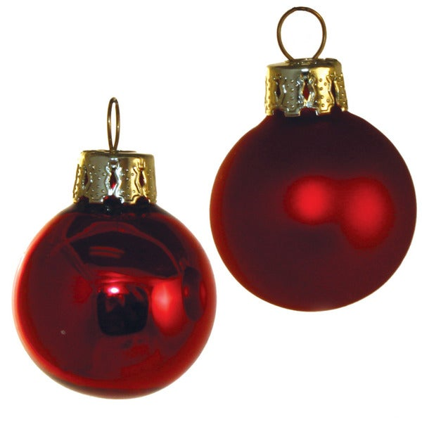 Red Glass Holiday Ornaments (Set of 21)