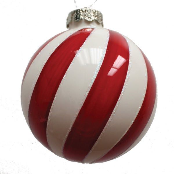 Red White Glass Ornament