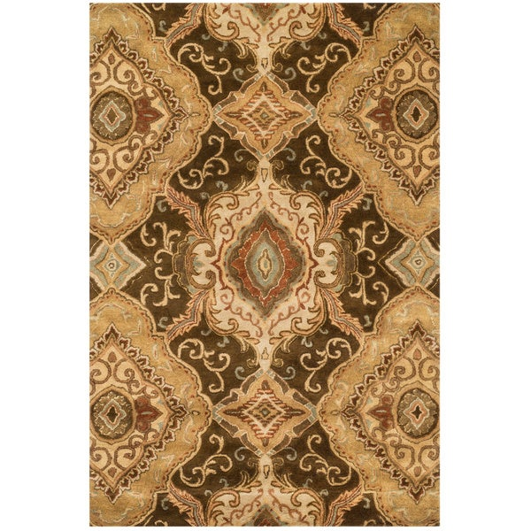 Hand-tufted Brown Floral Scroll Wool Area Rug - 5' x 7'6