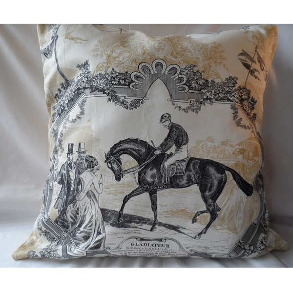 Ann Marie Lindsay 20-inch Vintage Horse and Rider Decorative Pillow Cover