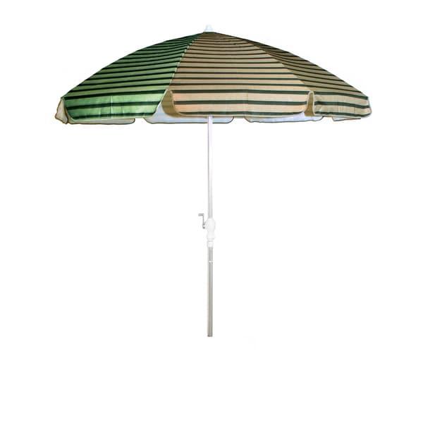 Dark Green and Tan Beige Stripes/ Silver Pole 92-inch Umbrella with Crank