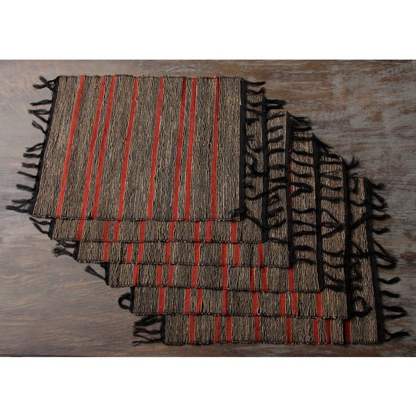 Set of Six Black Red stripes Vetiver Root Placemats (Indonesia)