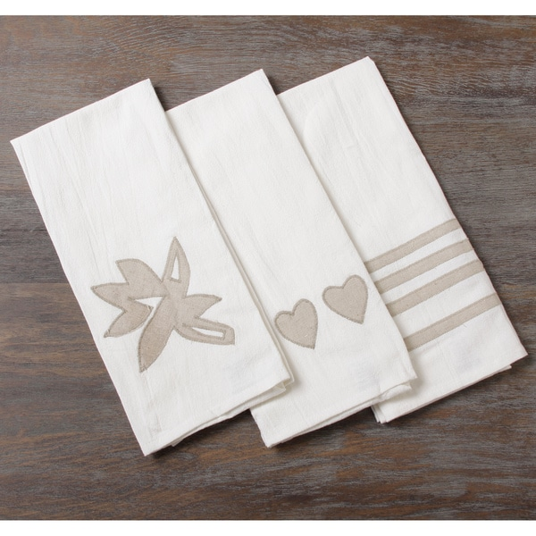 Set of Three Linen Applique Kitchen Towels (Indonesia)
