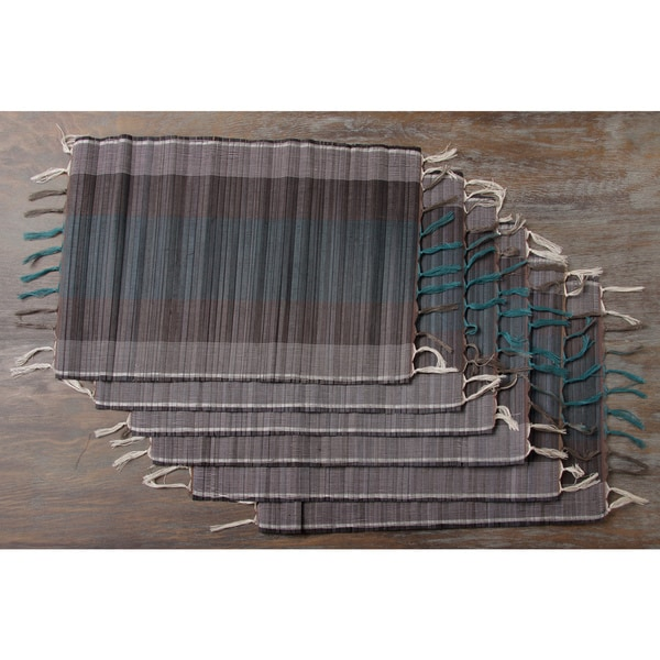 Set of Six Woven Bamboo placemats Teal (Indonesia)