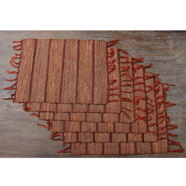 Set of Six Brick Red Striped Vetiver Root Placemats (Indonesia)