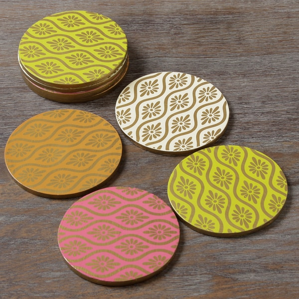 Mixed Brights Wooden Coasters (Indonesia)