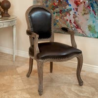 Maryland Brown Bonded Leather Weathered Wood Arm Chair by Christopher Knight Home